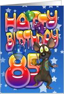 85th Birthday Card cute with little mouse card