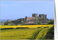 Bamburgh Castle - Northumberland with coastal backdrop card
