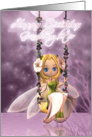 Granddaughter Happy Birthday cute fairy on flower swing, magical card