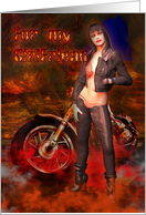 Girlfriend Happy Birthday Sexy biker female with motorbike card