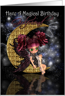 Girlfriend Birthday card with gothic moon fairy card