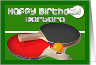 Barbara Table Tennis Birthday Card, ping pong, card