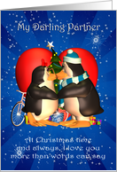 Partner Christmas Card With Kissing Penguins Heart And Christmas Tree card