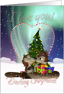 Girlfriend I Love You Christmas Card With Loving Squirrels card