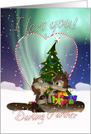 Partner I Love You Christmas Card With Loving Squirrels card