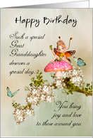 Great Granddaughter Fairy Birthday Card With Blossom card