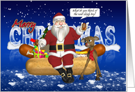 Hot Dogs, Onions, Bun, Christmas Card - Santa And Reindeer card