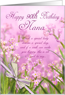 Nana 90th Birthday Greeting Card - Floral - Nana card