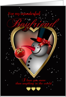 Boyfriend Christmas Card - Snowman In Heart card