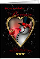 Partner Christmas Card - Snowman In Heart card