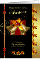 Partner Christmas Card - Black And Gold Effect - Holly And Bells card