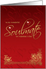 Soulmate Valentine's Day Card - Gold Effect On Red Valentine card