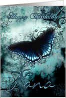 Nana Butterfly Birthday Card - Blue Butterfly Birthday Card
