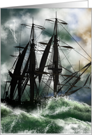 Columbus Day Card With Digitally Painted Ship On The Ocean card