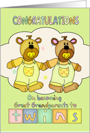New Baby Congratulations For Great Grandparents - Twins card