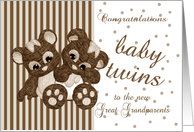 Great Grandparents New Baby Twins Congratulations card