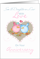 Son & Daughter-In-Law Anniversary Card With Love Birds card