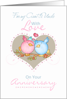 Aunt & Uncle Anniversary Card With Love Birds card