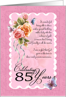 85th birthday greeting card - roses and butterflies 85th card