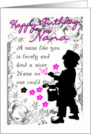 nana birthday card with little boy silhouette painting card