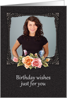 photo birthday card pretty floral framed birthday Card