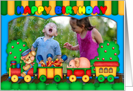 fun colorful photo birthday card with toy train soldiers and scenery card