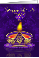 Diwali Greeting Card In Gold And Purple With Bokeh Lights card
