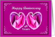 48 Year Anniversary with Two Rose Hearts card