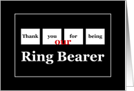 OUR RING BEARER Wedding Thank You with Squares card