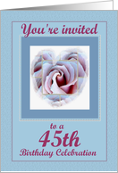 45th Birthday Party with Rose Heart card