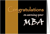 MBA Congratulations - Master of Business Administration card