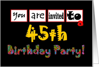 45th Birthday Party card