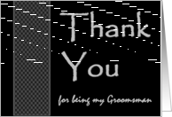 GROOMSMAN Wedding Thank You - Checkerboard Pattern card