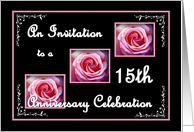 15th Anniversary Celebration with Pink Roses card