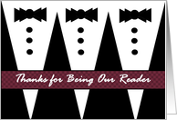 READER Wedding Thank You with Tuxedoes card