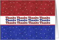 MILITARY Thanks - Red White and Blue Stars card