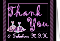BEST FRIEND Maid of Honor Wedding Thank You - Purple Stripes & Dresses card