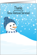 Thank You for Customer Using Snow Removal Service Snowman in Drift card
