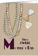 Swell Mother's Day Retro Necklaces and Hearts in Taupe and Burgundy card
