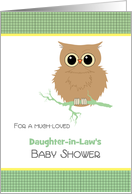 Daughter-in-Law Baby Shower Cute little brown Owl Customize Relation card