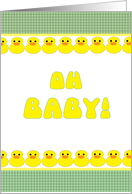 Baby Shower Oh Baby! Cute Yellow Duckies in a Row card