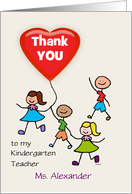 Kindergarten Teacher Thank You Kids with Heart Balloon Custom Text card