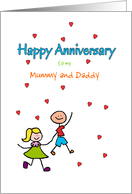 Anniversary Mummy and Daddy Cute Stick Kids and Red Hearts Custom card