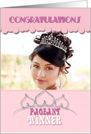 Pageant Winner Congratulations Winner Tiara in Pale Pink Photo Card
