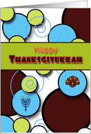 Thanksgivukkah Fun Retro Floating Circles Swirls Menorah and Turkey card