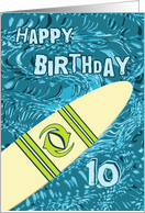 Surfer 10th Birthday with Surfboard in Ocean Graphic card