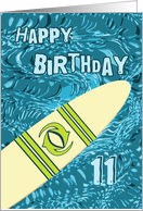 Surfer 11th Birthday with Surfboard in Ocean Graphic card