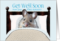 Knee Surgery Get Well Soon Cute Mouse in Bed card