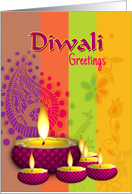 Diwali Greetings Business or Personal Colorful Diya and Stripes card