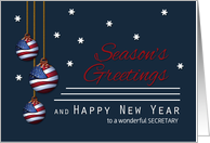 Secretary Patriotic Season's Greetings Custom American Flag Ornaments card